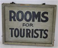 """Antique wooden painted dbl sided trade sign """"Rooms for"""