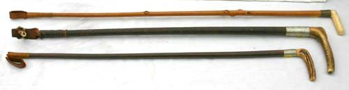 8: lot of 3 antique riding crops w ivory & bone handles