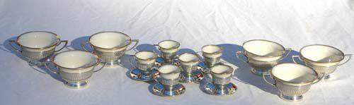 94: 12 pc sterling silver boullion & demi tasse cups &