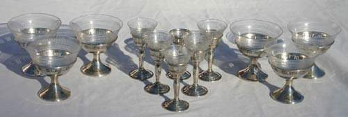 383 lot of 6 etched glass sherbets  6 etched glass co