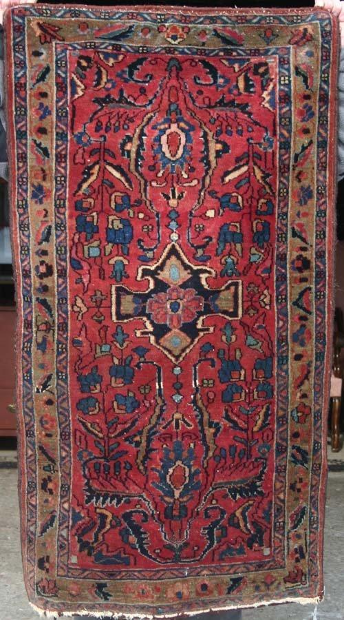 "3: 2'8""x4'10"" antique Persian Lilihan Oriental Rug"