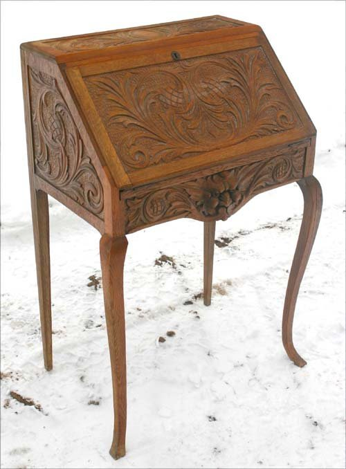 5: highly carved Victorian oak ladies slant lid desk