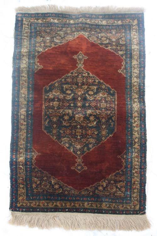 "9: Fine 19""x30"" Turkish Hereke silk Oriental Mat"
