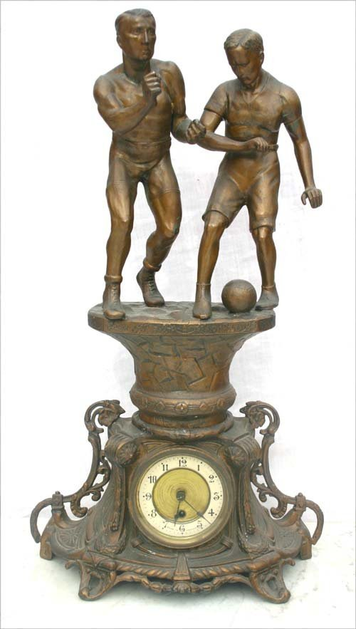 18: ca 1890-1900 French soccer player figural clock