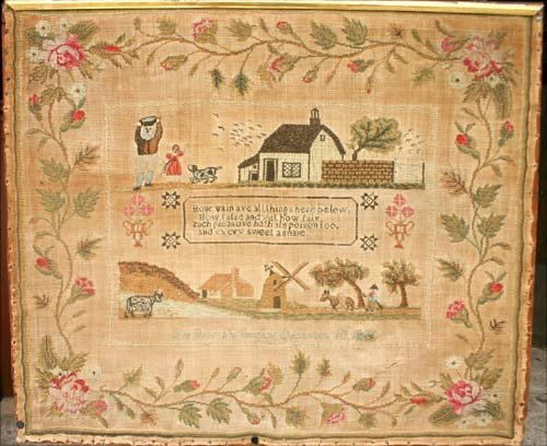 19: Dated Dec 18thC 182? Pictorial sampler by Ann Brown