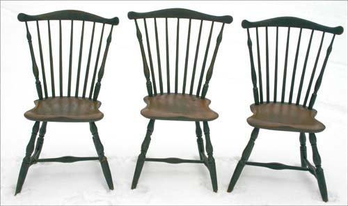 20: rare set of 6 ca 1790 period Windsor fanback chairs