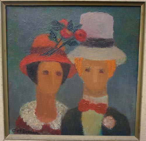 20A: Beah Gelman (1904 - ) 8x8 o/c of a man & a woman