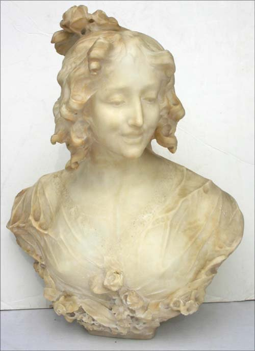"""159: Fine 19thC marble sculpture of a woman - 19"""" tall"""