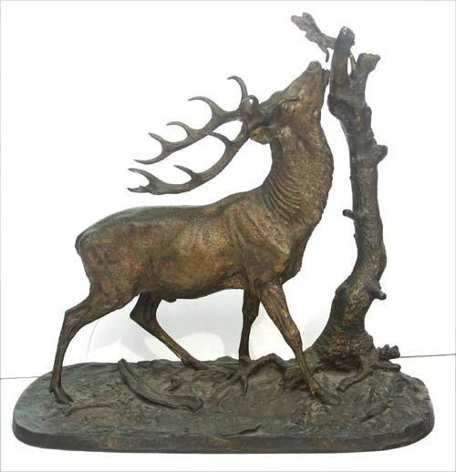229: Fine large bronze stag sculpture by PJ Mene