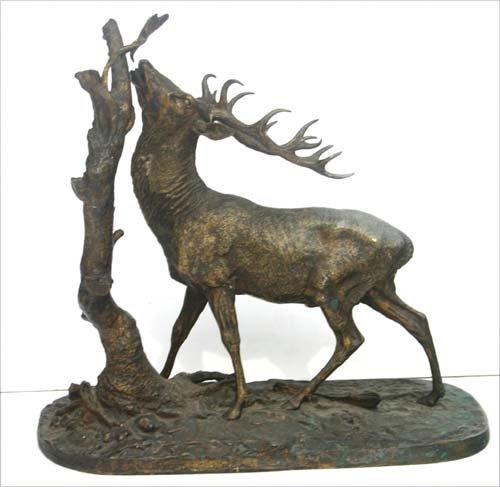 229: Fine large bronze stag sculpture by PJ Mene - 2