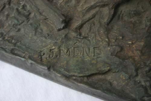 229: Fine large bronze stag sculpture by PJ Mene - 3