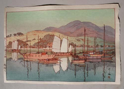 "6: Japanese Woodblock print by Hiroshi Toshida ""Waiting"