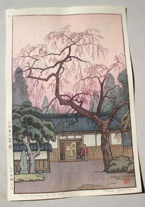 "7: Japanese Woodblock print by Toshi Yoshida ""Cherry Bl"