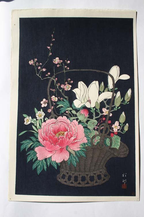 13: Japanese Woodblock print of flowers in a basket by