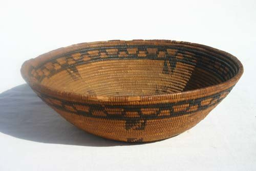 214A: 19thC Native American coiled dec basket - 11 1/