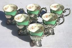 247 set of 6 sterling silver demi tasse cups w Lenox i