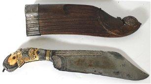 18thC Indonesian Pija Kaetta ceremonial knife w silver