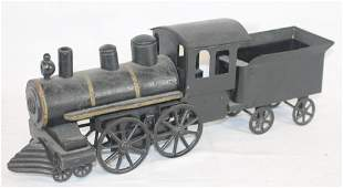 Hand made wood & tin locomotive & tender in black paint
