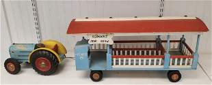 Wooden painted Tractor with Circus trolley car