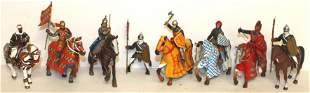 Miniature figure lot of soldiers mounted on horseback