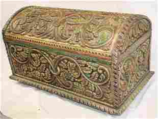 """Carved & painted dome top trunk/toybox - 21"""" tall x 36"""""""