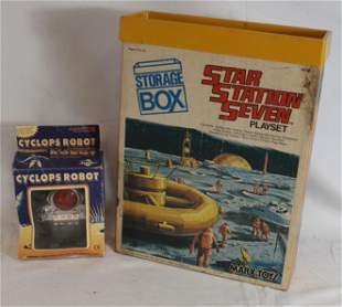 Space toy lot incl Marx Star Station Seven play set in