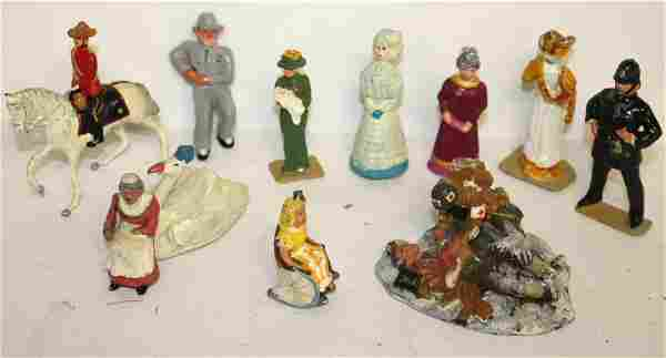 group of misc lead or pewter figures - Victorian woman,