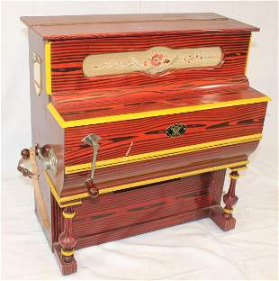 Hurdy Gurdy hand crank child's organ made by Vicente