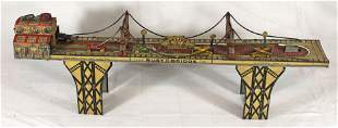 """Marx tin wind-up """"Busy Bridge"""" - as found - needs cable"""