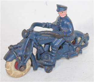 """Antique cast iron motorcycle w rider in blue paint - 7"""""""