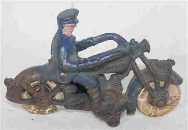 Antique cast iron motorcycle w rider in blue paint w