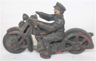 Antique cast iron motorcycle w rider black paint over