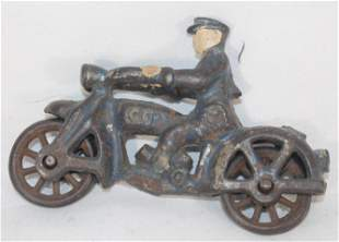 Antique cast iron motorcycle w rider in blue paint -