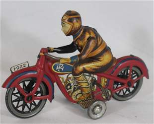 """Tin wind-up motorcycle w rider - 6 1/2"""" long"""