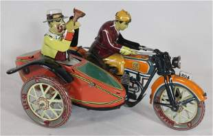 Tin wind-up motorcycle w rider & sidecar - as found -