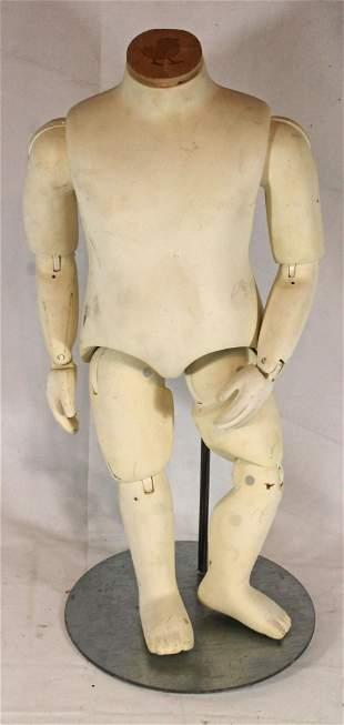 Vintage hard plastic articulated child size mannequin -