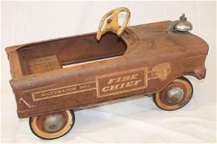"Vintage Fire Chief Batallion No 1 pedal car - 22"" long"