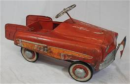 Vintage Fire Dept. pedal car w 2 wooden ladders - as