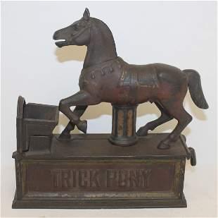 "Antique cast iron ""Trick Pony"" mechanical bank - 7 1/2"""