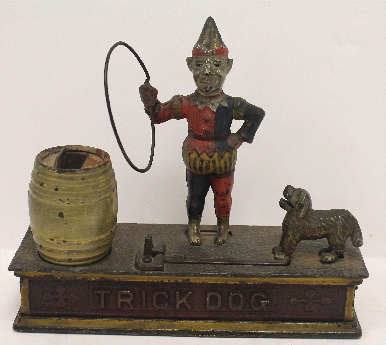 "Antique cast iron ""Trick Dog"" mechanical bank - 8"