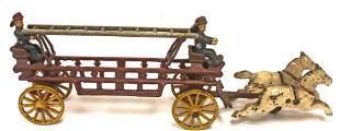 Antique cast iron horse drawn ladder truck w 2 fireman