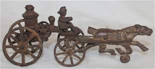 "Antique cast iron horse drawn fire pumper - 8 1/2"""