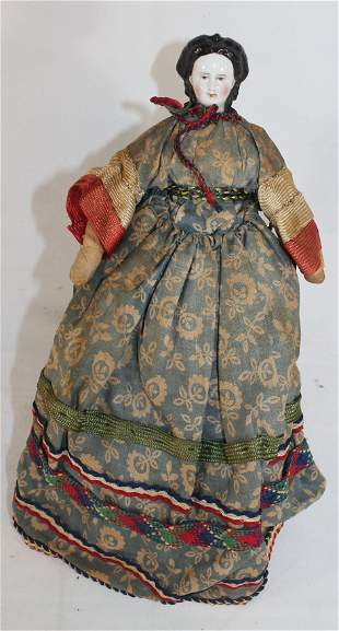 "ca 1880 German china head doll on cloth body - 11"" tall"