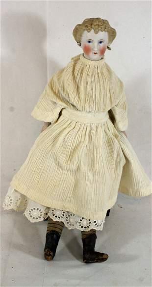 ca 1880 German Parian head & hands doll on cloth body -