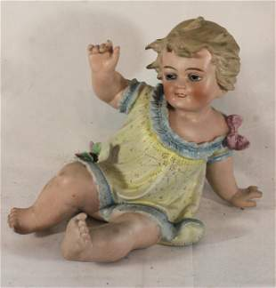 """ca 1920's bisque Piano Baby - 9 1/2"""" tall"""