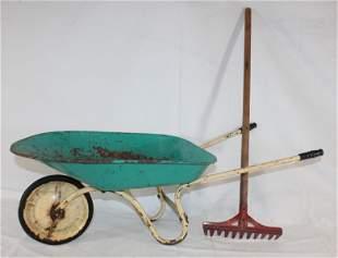 Child size wheelbarrow w rake