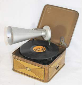 """Bing tin wind-up """"Pigmy Phone"""" toy phonograph"""
