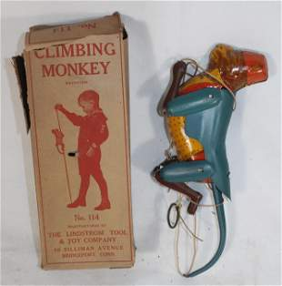 """Lindstrom """"Climbing Monkey"""" tin wind-up in orig box"""