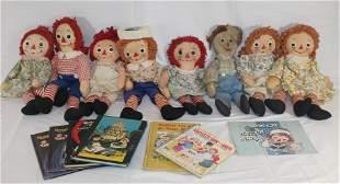 Lot of vintage Raggedy Ann & Andy rag dolls