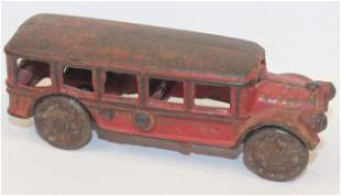 """Antique cast iron bus in red paint - 5"""" long"""